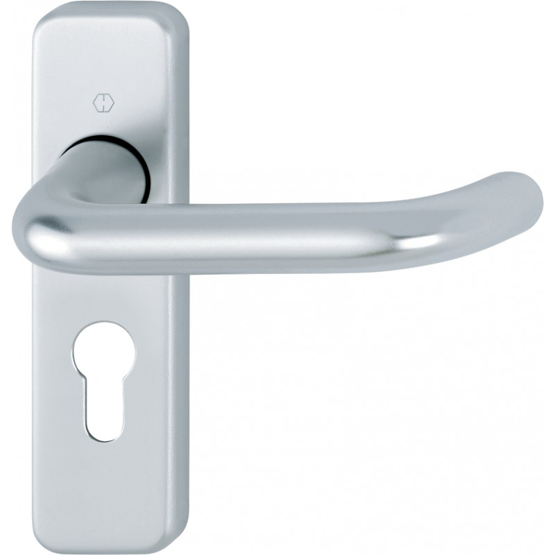 HOPPE 19mm dia. Satin Anodised Aluminium Euro Lever Lock Backplate Furniture - 47.6mm Centres