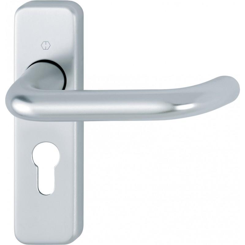 HOPPE 19mm dia. Satin Anodised Aluminium Euro Lever Lock Backplate Furniture - 47.6mm Centres