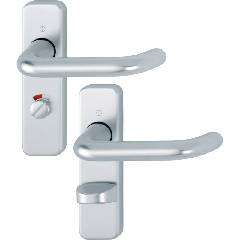 HOPPE 19mm dia. Satin Anodised Aluminium Bathroom Lever Backplate Furniture - 57mm Centres