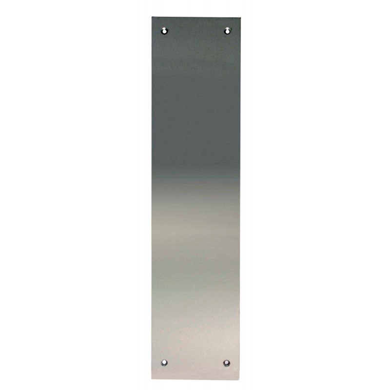 300mm x 75mm x 1.2mm Satin Stainless Steel Push Plate c/w Square Corners & Screw Fixings
