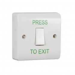 Keyswitch Style Momentary Press To Exit Button - White Plastic