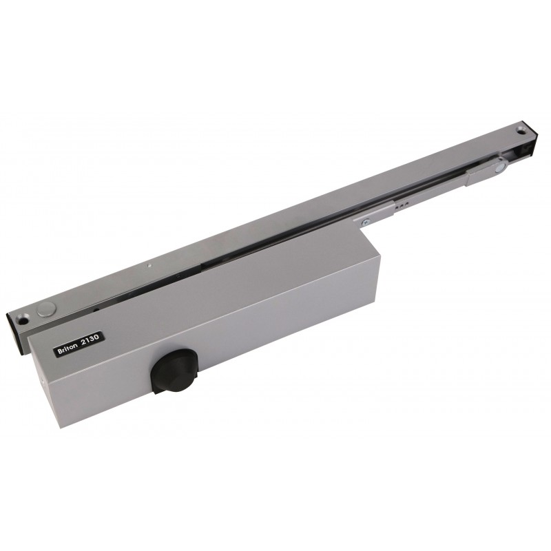 Briton 2130B.TE Electromagnetic Hold Open Slide Arm Door Closer Silver