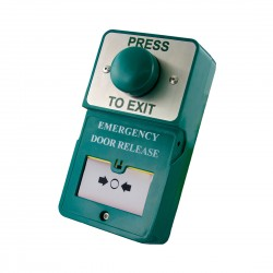 Dual Unit - Green Dome Press To Exit c/w Emergency Door Release (B)
