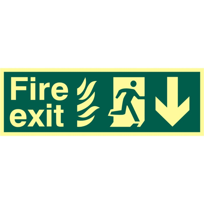 Photoluminescent Fire Exit Directional Sign - Down