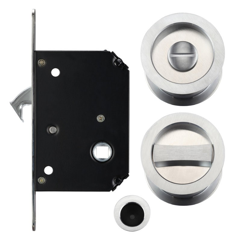 FB81 Sliding Door Lock Set - Satin Chrome