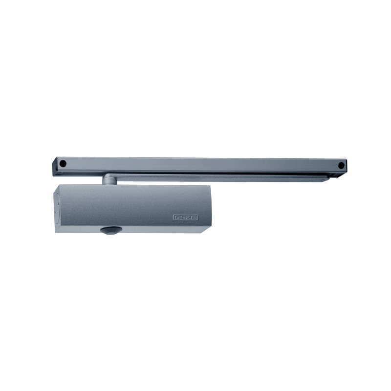 Geze TS3000VE Electromagnetic Hold Open Slide Arm Door Closer Silver