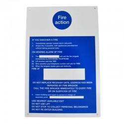 Fire Action Vinyl Notice 300mm x 200mm
