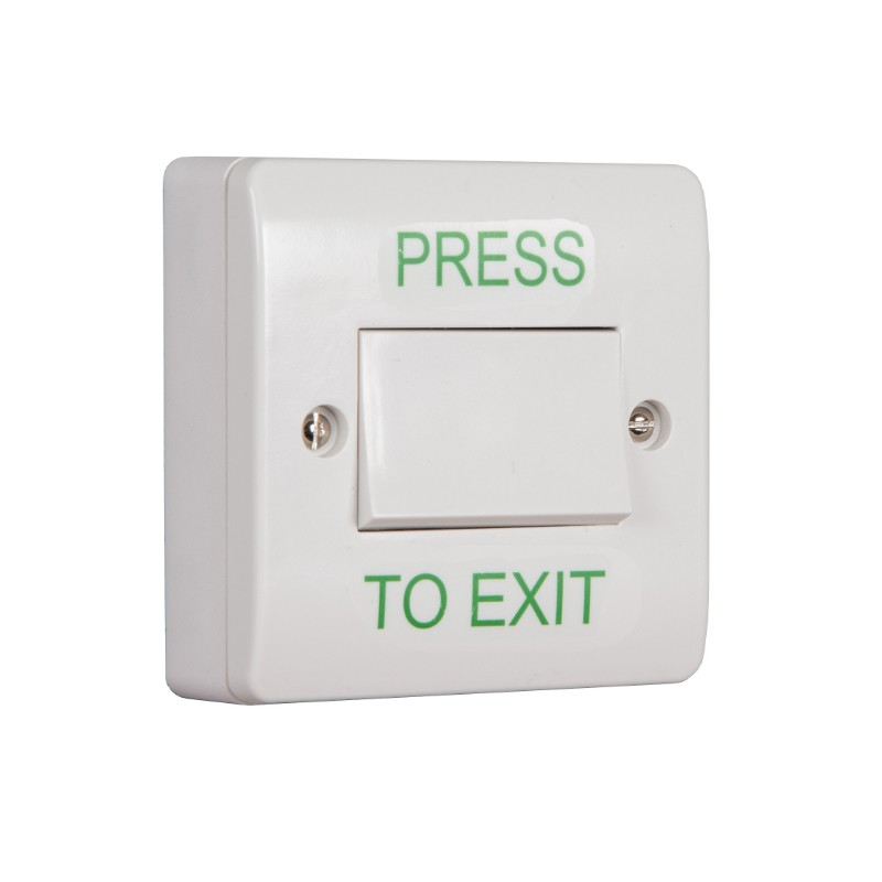 Large White Plastic Press To Exit Button