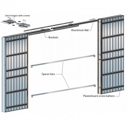 Scrigno S Tech Double Sliding Pocket Door System With Jambs - Illustration