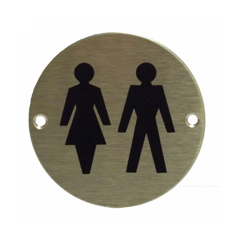 Satin Stainless Steel Unisex Toilet Sign