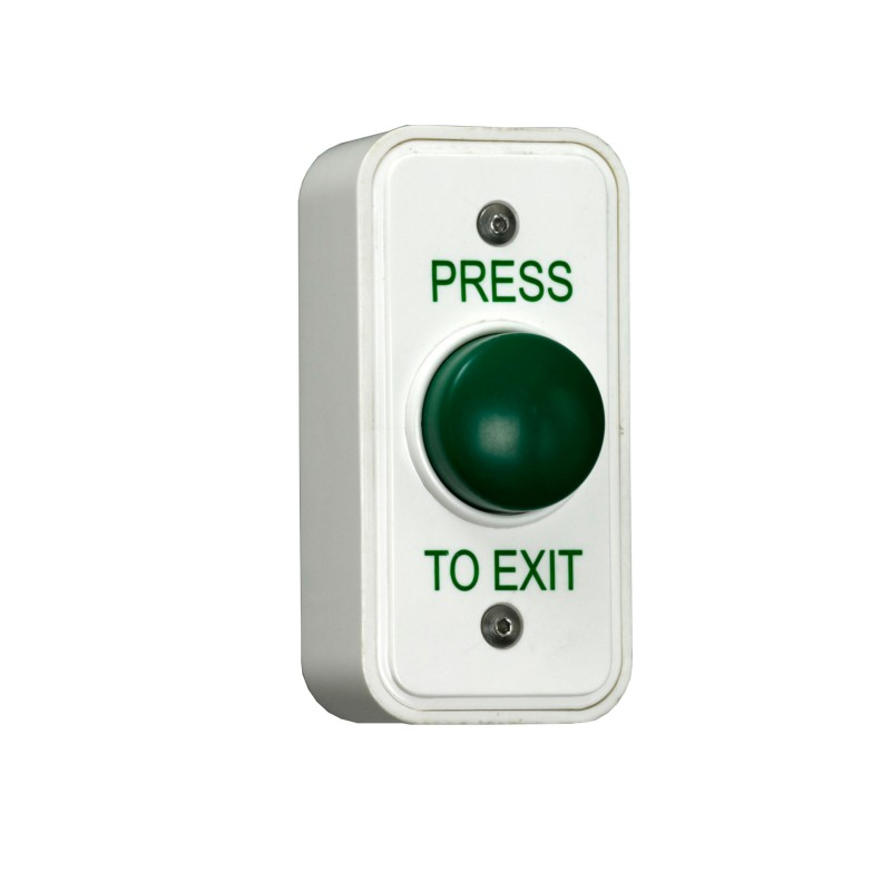 Green Dome Momentary Press To Exit Button - Plastic - White - Architrave